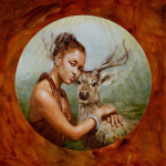 """Rachel with Schomburgk's Deer"""